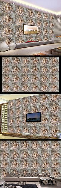 高档3D立体龙纹拼花浮雕背景墙