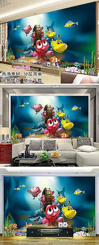 海底世界儿童房背景墙装修设计