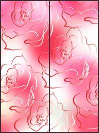简约玫瑰花线条纹样移门图案
