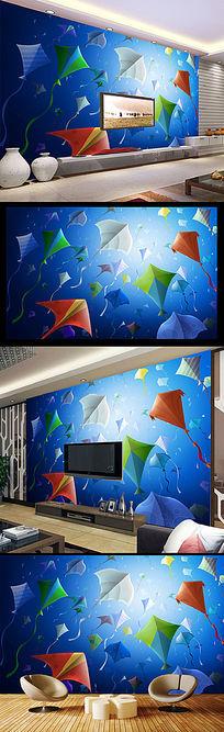 蓝色抽象风筝电视背景墙