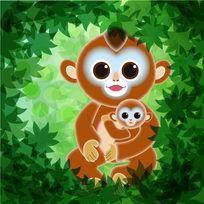 绿叶相框卡通母子金丝棕猴插画