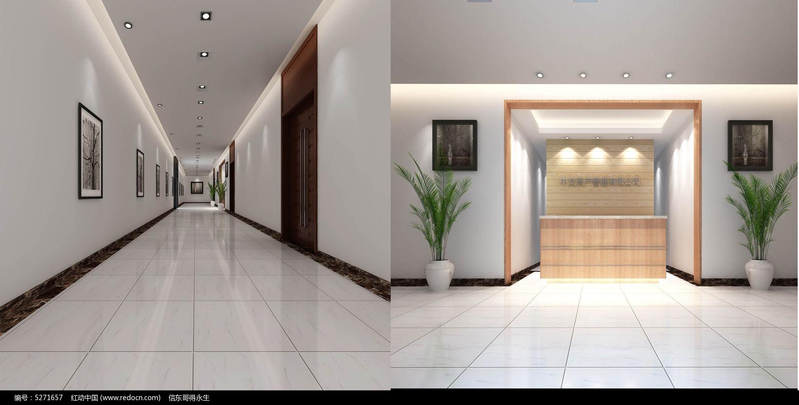 办公过道3d模型 前台3d模型 公司形象背景墙3d模型 公司双开门3d模型