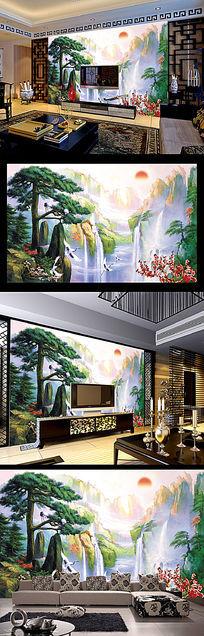 迎客松山水中堂壁画客厅电视背景墙