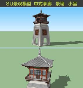 壮观派气塔楼中式SU模型
