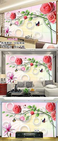 玫瑰花背景墙沙发墙
