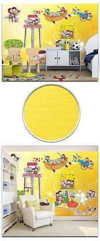 梦幻卡通人物贴图儿童房背景墙