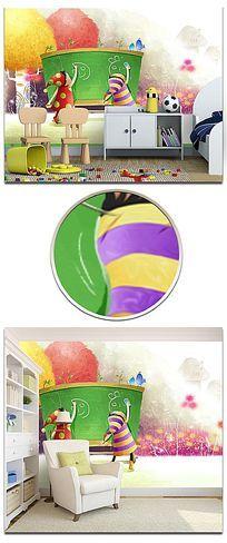 梦幻卡通小孩画画儿童房背景墙