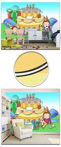 卡通彩绘睡梦天使幼儿园背景墙
