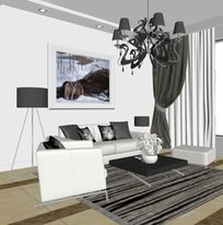 白色现代素净客厅3D效果模型