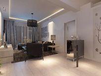 超简白色客厅3D模型