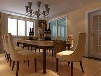 高级别墅简欧餐厅3D效果模型