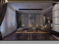高级现代风格客厅3D设计模型
