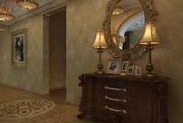 古典欧式边柜装修柜3D模型