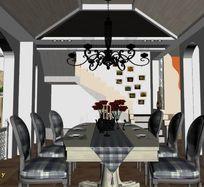 古典田园风格阁楼餐厅3D模型