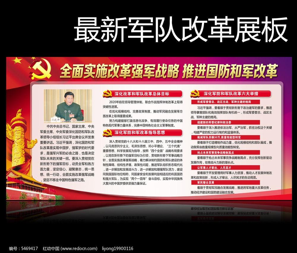 国防改革军队改革教育展板图片素材