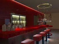 红色酒吧台3D模型