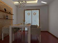 简装户型餐厅3D效果模型
