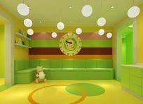 绿色温馨儿童休闲区卡座3D模型