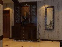 奢华中式玄关背景墙装修3D效果模型