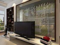 室内中式风格背景墙3D模型