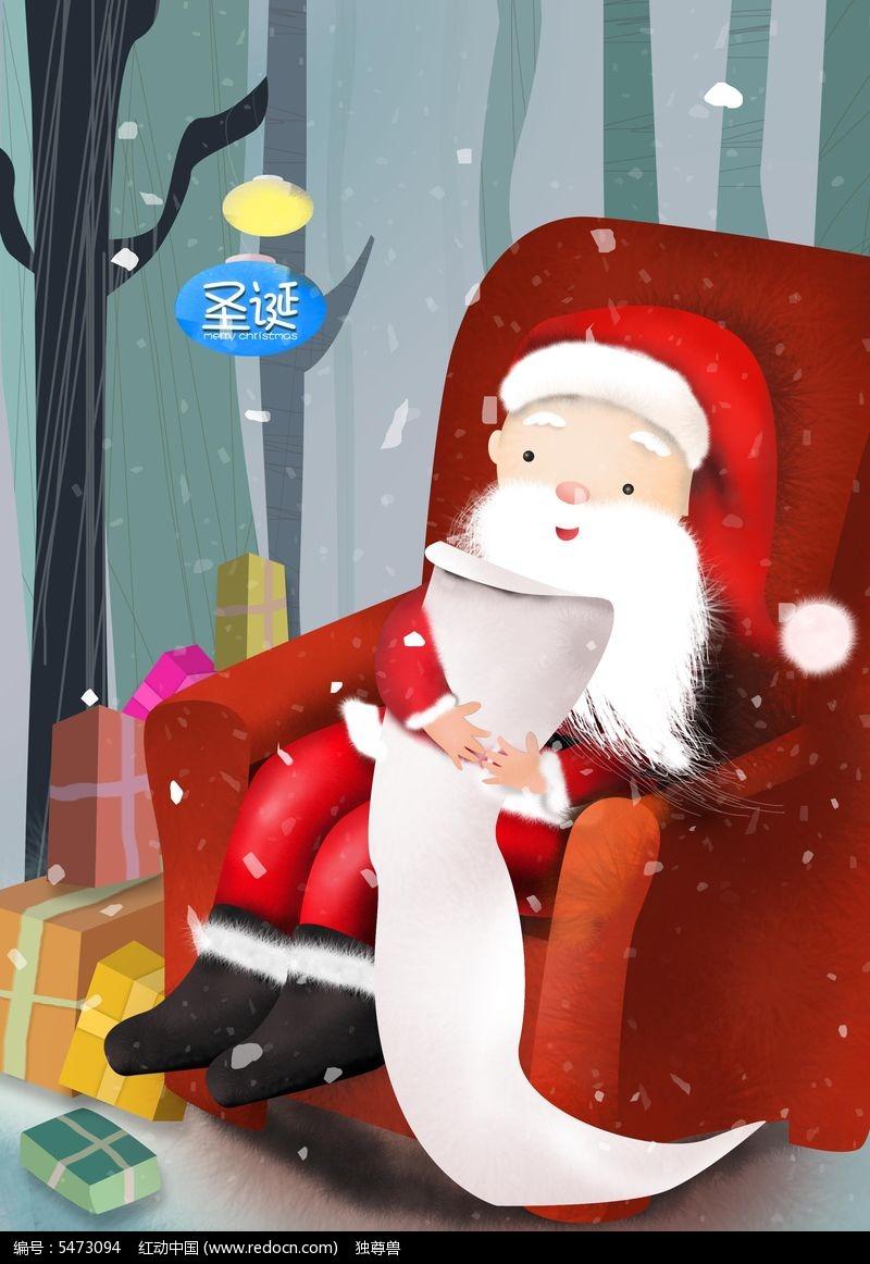手绘圣诞老人海报图片