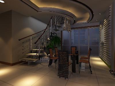 原创设计稿 3d模型库 室内装修 小户型复式餐厅楼梯间装修3d模型图片