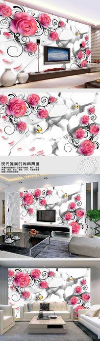 红玫瑰花瓣飘落时尚背景墙