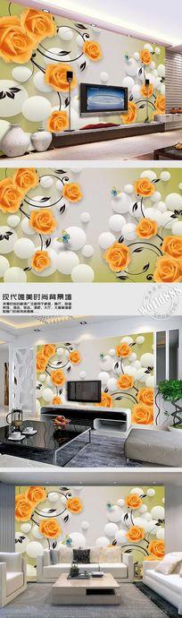黄玫瑰透明球时尚3D背景墙
