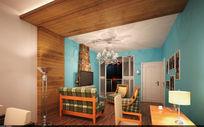 家装美式田园风格效果图模型