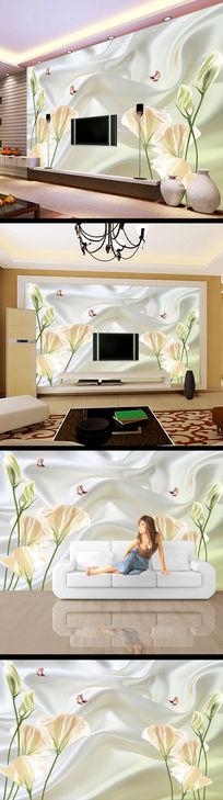 3d立体布料花儿电视背景墙