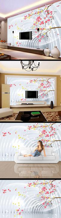 3d立体花儿花纹电视背景墙