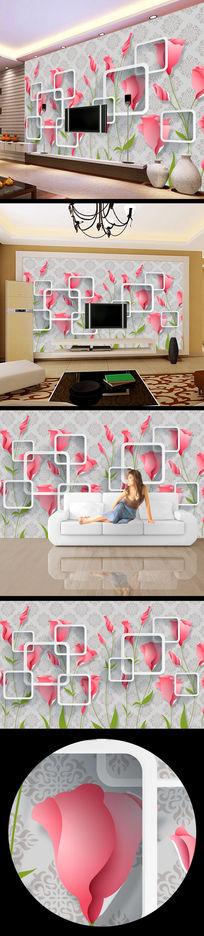 3d立体花纹玫瑰花电视背景墙