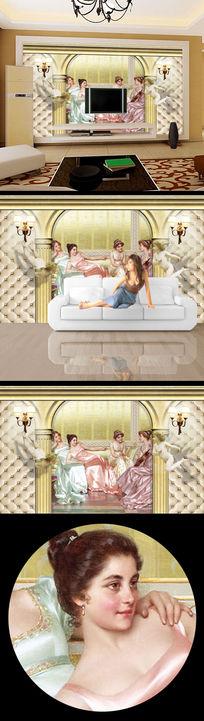 3d立体美女油画电视背景墙设计