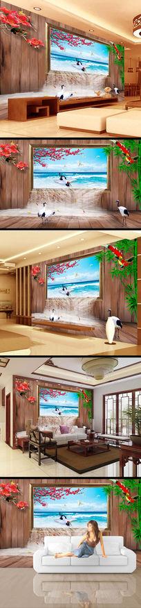 窗户海景3d立体电视背景墙