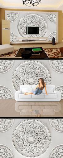大气浮雕花纹玉雕电视背景墙设计