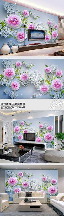 粉色牡丹剪纸图案典雅3D背景墙