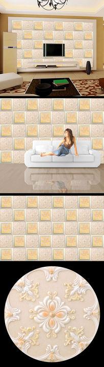 花纹玉雕大理石电视背景墙设计