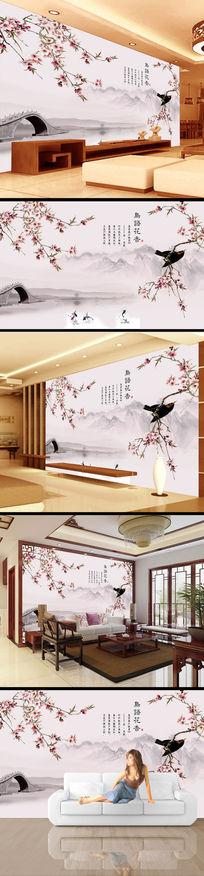 梅花树枝水墨画电视背景墙