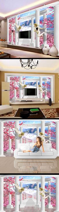 欧式石柱瀑布风景画电视背景墙