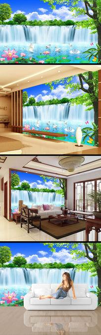 瀑布流水风景画电视背景墙设计