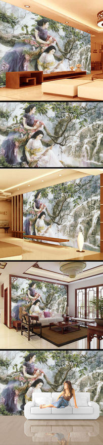 瀑布美女中国风电视背景墙