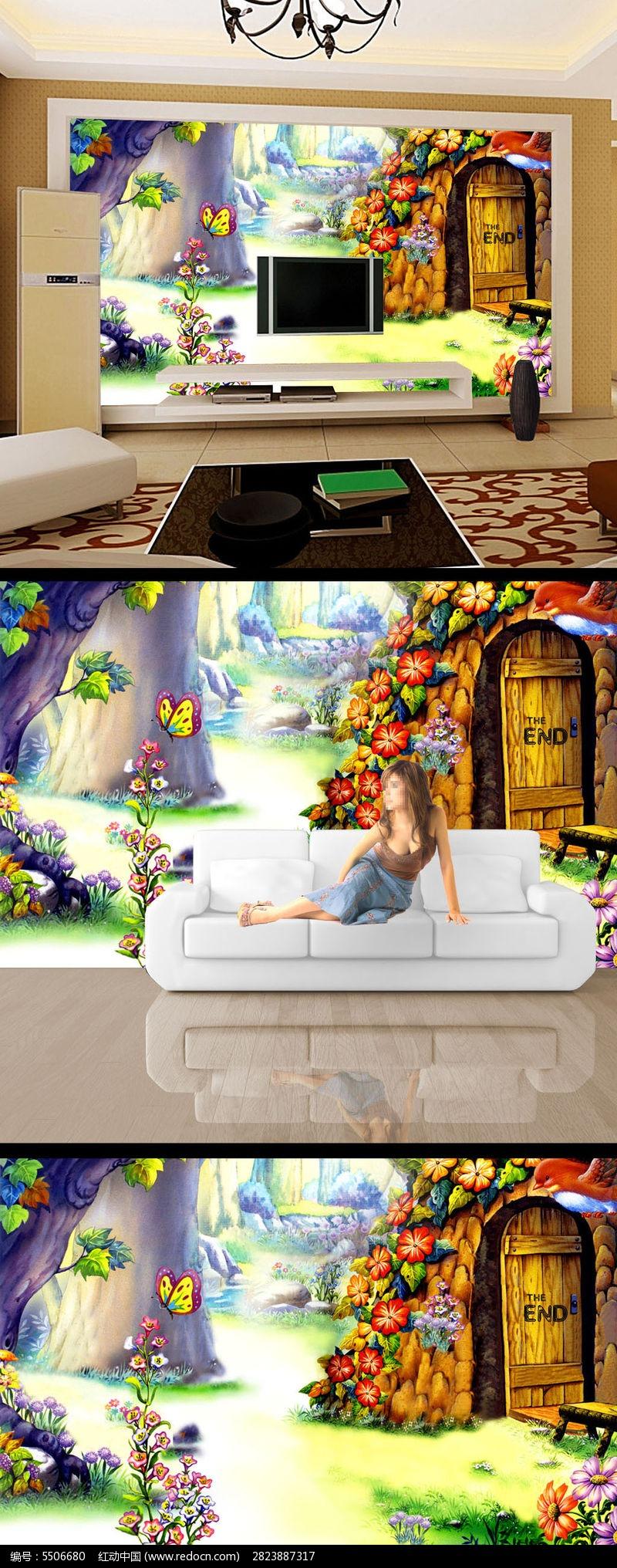 手绘彩绘风景画房子电视背景墙