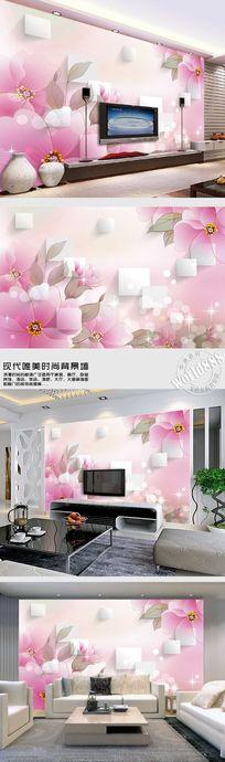 手绘花粉色花朵立体方形淡雅3D背景墙