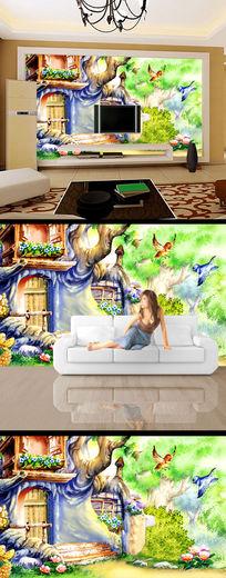 树洞房子彩雕手绘背景墙