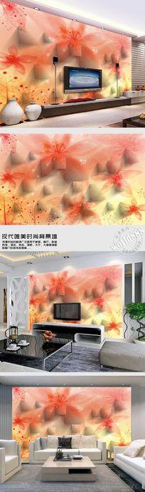 透明花百合花朵简约时尚背景墙