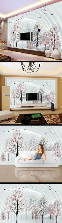 仙境简约树木花朵3d背景墙
