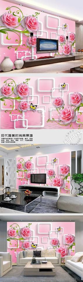 雅致玫瑰花透明方框淡粉时尚背景墙