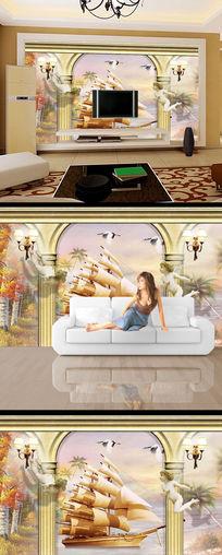 油画3d立体一帆风顺电视背景墙