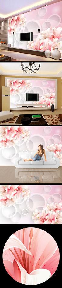 圆形3d立体鲜花电视背景墙