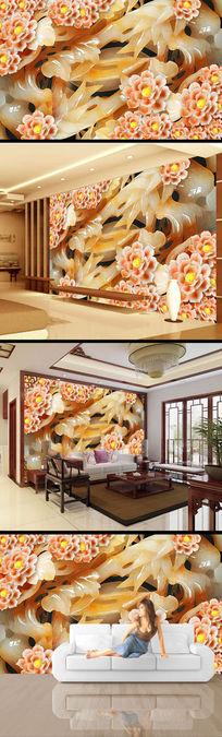 玉璧花朵鲜花玉雕电视背景墙设计